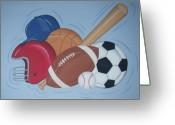 Childrens Artwork Drawings Greeting Cards - Play Ball Greeting Card by Valerie Chiasson-Carpenter