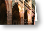 Shaped Greeting Cards - Play of light and shadow - Saint Vitus Cathedral Prague Castle Greeting Card by Christine Till