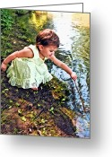 Baby Girl Greeting Cards - Play Time Greeting Card by James Steele