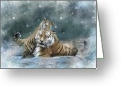 Tiger Cub Greeting Cards - Play With Me Mum Greeting Card by Julie L Hoddinott