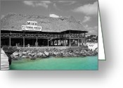 Travelpixpro Greeting Cards - Playa del Carmen Mexico Maritime Terminal Color Splash Black and White Greeting Card by Shawn OBrien