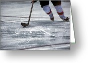 Rink Greeting Cards - Player and Puck Greeting Card by Karol  Livote
