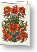 Decorative Floral Drawings Greeting Cards - Playful Birdies Greeting Card by Olena Kulyk