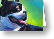 Pet Portrait Drawings Greeting Cards - Playful Boston Terrier Greeting Card by Svetlana Novikova