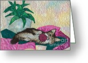 Framed Art Tapestries - Textiles Greeting Cards - Playful Mischief  Greeting Card by Denise Hoag