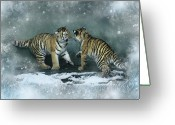 Tiger Cub Greeting Cards - Playful Youth Greeting Card by Julie L Hoddinott