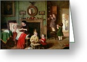 Little Girls Greeting Cards - Playing at Doctors Greeting Card by Frederick Daniel Hardy