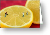 Food And Beverage Digital Art Greeting Cards - Playing baseball on lemon Greeting Card by Mingqi Ge