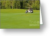 Golf Green Greeting Cards - Playing Golf at a Golf Course Resort in a Cart Greeting Card by ELITE IMAGE photography By Chad McDermott