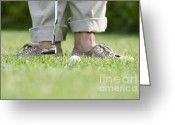 Golf Green Greeting Cards - Playing golf Greeting Card by Mats Silvan