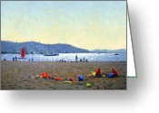 Roelof Rossouw Greeting Cards - Playing in the Sand Greeting Card by Roelof Rossouw