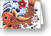 Lotus Greeting Cards - Playing Koi Greeting Card by Maria Arango