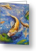 Pads Drawings Greeting Cards - Playing Koi Greeting Card by Outre Art Stephanie Lubin