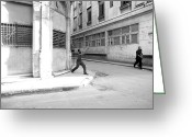 Stickball Greeting Cards - Playing Stickball With A Bottle Cap in Havana Cuba Greeting Card by Michael Dubiner
