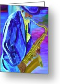 Sax Greeting Cards - Playing the blues Greeting Card by Michael Lee
