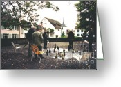Chess Game Greeting Cards - Playing the Game Greeting Card by Susanne Van Hulst