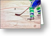 Hockey Action Greeting Cards - Playing the Puck Greeting Card by Karol  Livote