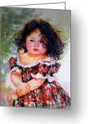 Retratos Greeting Cards - Playing to be a model Greeting Card by Estela Robles