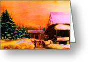 Pond Hockey Painting Greeting Cards - Playing Until The Sun Sets Greeting Card by Carole Spandau