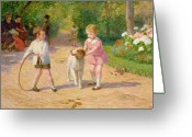 Tree-lined Greeting Cards - Playing with the Hoop Greeting Card by Victor Gabriel Gilbert