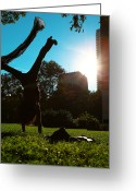 Flexibility Greeting Cards - Playing with the Sun - Philadelphia - Pensilvania - Sunset Greeting Card by Lee Dos Santos