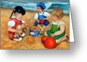 Oil Painting Greeting Cards - Playtime at the Beach Greeting Card by Enzie Shahmiri