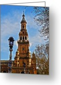 Blau Greeting Cards - Plaza de Espana - Sevilla Greeting Card by Juergen Weiss