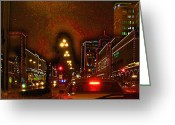 Kc Greeting Cards - Plaza Lights Greeting Card by Thomas Bomstad