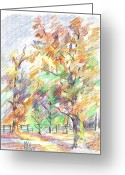 Yellow Drawings Greeting Cards - Pleasant Autumn in Brigadoon C104 Greeting Card by Kip DeVore
