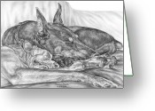 Dobermann Greeting Cards - Pleasant Dreams - Doberman Pinscher Dog Art Print Greeting Card by Kelli Swan