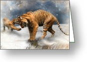 Tiger Cub Greeting Cards - Please Mamma Dont Cry Greeting Card by Julie L Hoddinott