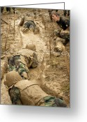 Cheering Greeting Cards - Plebes Navigate The Low Crawl Obstacle Greeting Card by Stocktrek Images