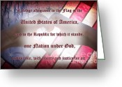 Indivisible Greeting Cards - Pledge of Allegiance Greeting Card by Lj Lambert