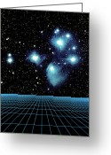 Star Clusters Greeting Cards - Pleiades In Taurus Greeting Card by Science Source