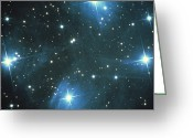 Star Clusters Greeting Cards - Pleiades Star Cluster Greeting Card by Science Source