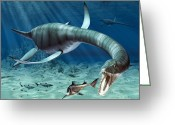 Feeding Drawings Greeting Cards - Plesiosaur Attack Greeting Card by Roger Harris and Photo Researchers