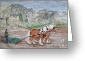 Plowing Greeting Cards - Plough Horses Greeting Card by Yvonne Johnstone