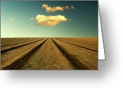 Infinity Greeting Cards - Ploughed Field And Sky Greeting Card by Paul McGee