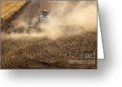 Dust Greeting Cards - Plowing the Ground Greeting Card by Mike  Dawson
