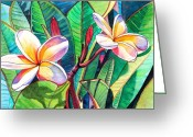 Rainbow Greeting Cards - Plumeria Garden Greeting Card by Marionette Taboniar