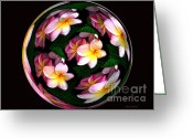 Photo Manipulation Greeting Cards - Plumeria Tile Ball Greeting Card by Cheryl Young