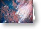 Barren Greeting Cards - Plumes Of Smoke Rising From A Landscape Seen From Space Greeting Card by Stockbyte