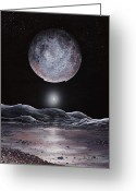 Ices Greeting Cards - Pluto Seen From Charon, Artwork Greeting Card by Richard Bizley