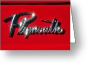 Antique Automobile Greeting Cards - Plymouth nameplate Greeting Card by David Lee Thompson