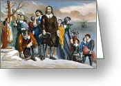 Lithograph Greeting Cards - Plymouth Rock, 1620 Greeting Card by Granger