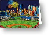Sports Art Greeting Cards - PNC Park fireworks Greeting Card by Ron Magnes
