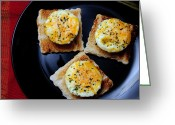 Hunger Greeting Cards - Poached Eggs On A Raft Greeting Card by Andee Photography