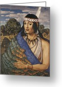 Native Architecture Greeting Cards - Pocahontas Wears A Turkey-feather Robe Greeting Card by W. Langdon Kihn