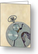 Pocket Painting Greeting Cards - Pocket Watch Greeting Card by Kathy Montgomery