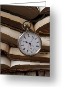 Library Greeting Cards - Pocket watch on pile of books Greeting Card by Garry Gay